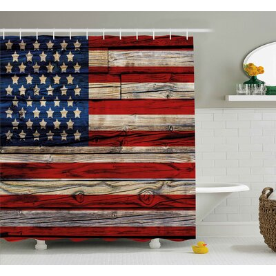 4th of July Old Fashion Retro Illustration With Independence Day Quote National Love Print Shower Curtain Size: 69 W x 70 H