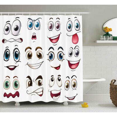 Della Smiley Face Emoji Cartoon Hand Drawing Image With Positive Face Expressions Shower Curtain Size: 69 W x 75 H