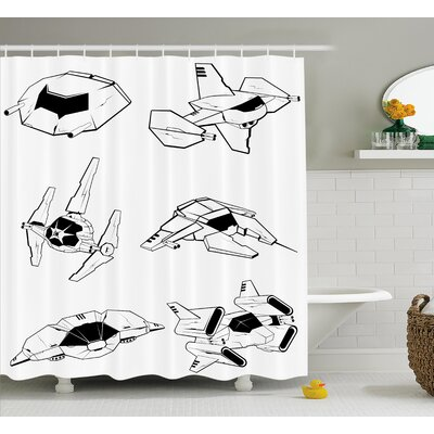 Essie Battle Spaceships Future Space Armed Forces Fantastic Galaxy Wars Themed Pattern Shower Curtain Size: 69 W x 70 H