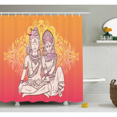 Normandie Yoga Asian Gods Shower Curtain Size: 69