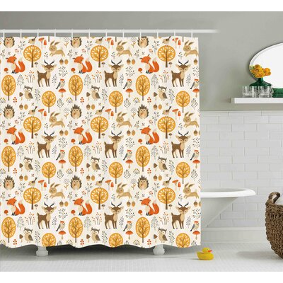Helene Cartoon Kids Nursery Rooms Decoration Baby Owls Deers Birds Rabbits Flower Image Shower Curtain Size: 69 W x 70 H