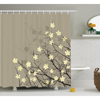 Oberon Japanese Retro Flourishing Twiggy Eastern Blossoms Botanical Metaphoric Life Concept Shower Curtain Size: 69 W x 70 H