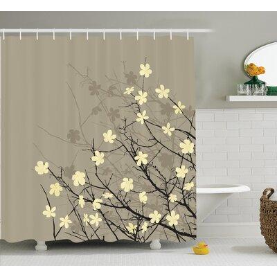 Oberon Japanese Retro Flourishing Twiggy Eastern Blossoms Botanical Metaphoric Life Concept Shower Curtain Size: 69
