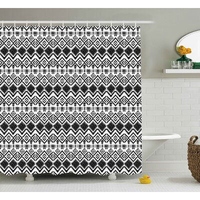 Maria Modern Geometric Design With Modern Hippie Zig Zags Triangles Squares Art Print Shower Curtain Size: 69 W x 70 H
