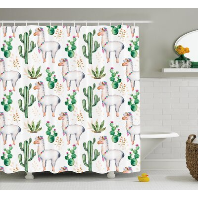 Lindsey Hot South Desert Plant Cactus Pattern With Camel Animal Modern Colored Image Shower Curtain Size: 69 W x 70 H