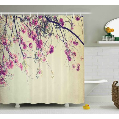 Karle Nature Flowers Branches Sakura Blooms Cherry Blossoms Spring Time Photo Shower Curtain Size: 69 W x 70 H