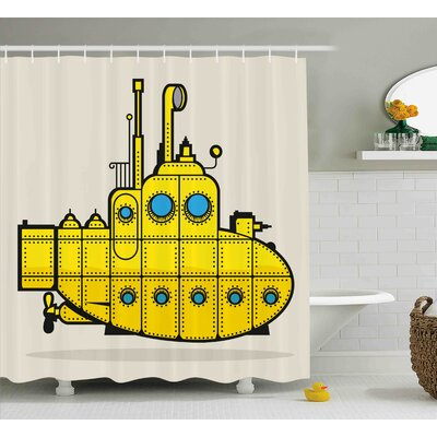 Frisange Yellow Submarine Retro Grunge Artsy Marine Vessel Industrial Nautical Ocean Theme Shower Curtain Size: 69 W x 70 H