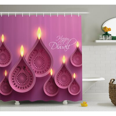 Ponce Diwali Paisley Design Burning Candles For Religious Festive Celebration Carvings Shower Curtain Size: 69 W x 70 H