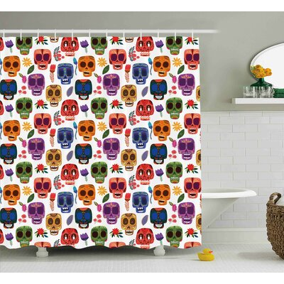 Ileana Day of The Dead African Tribal Wooden Scary Mask With Cartoon Funny Details Art Print Shower Curtain Size: 69 W x 70 H