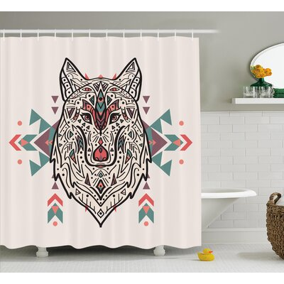 Moquin Tribal Charming Lion Like Wolf Head With Paisley Ethnic Ornaments Print Shower Curtain Size: 69 W x 70 H