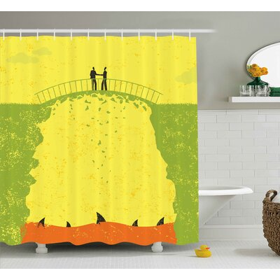 Virginia Grunge Two Men Shaking Hands and Sharks Under Bridge Business Murky Illustration Shower Curtain Size: 69 W x 70 H