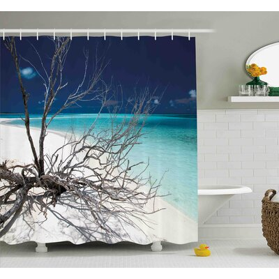 Katherine Seascape Theme Driftwood on The White Sandy Beach Digital Image Shower Curtain Size: 69 W x 75 H