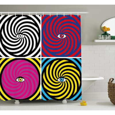 Josephine Pop Art Style Hypnotic Design Swirling Patterns With Eye Shower Curtain Size: 69 W x 75 H