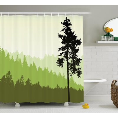Azbane Nature Theme Pine Tree Silhouette on An Abstract Background Shower Curtain Size: 69 W x 70 H