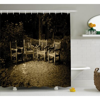 Hobbits Four Small Wooden Rustic Chairs Shower Curtain Size: 69 W x 70 H