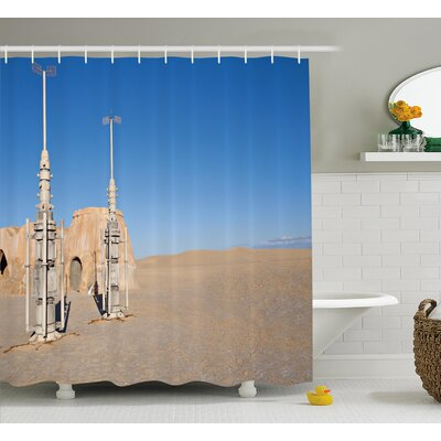 Cathryn Illustration of Town of Famous Movie Set on The Planet Fantasy Space Wars Theme Shower Curtain Size: 69 W x 70 H