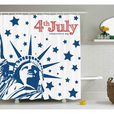 4th of July Murky Old American Flag Background With Stars Abstract Us Artful Image Shower Curtain Size: 69 W x 70 H