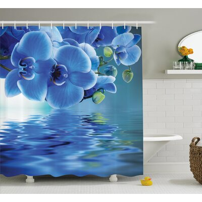 Auburn Orchids Asian Natural Flowers Reflections on Water For Spring Time Relaxing Print Shower Curtain Size: 69 W x 75 H