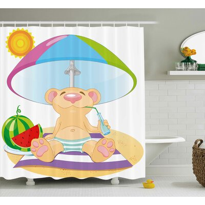 Herminia Cartoon Bear on The Beach Sunbathing Summer Day With Watermelon Children Cheerful Design Shower Curtain Size: 69 W x 84 H