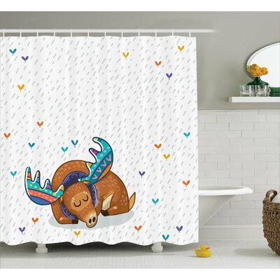 Flossie Moose Colorful Antlers Boho Deer Retro Artsy Winter Rain Pattern Rainbow Heart Animal Theme Shower Curtain Size: 69 W x 70 H