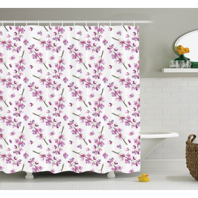 Elma Purple Hazy Delphinium Floret Branches With Bloom Roots Season Twigs Nature Pattern Shower Curtain Size: 69 W x 70 H
