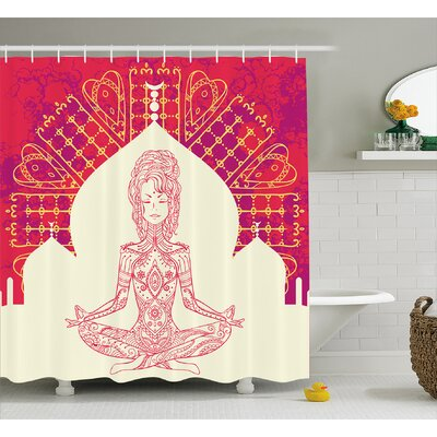 Kelly Chakra Indian Goddess Inspired Lady Doing Yoga Motif on Bohemian Grungy Backdrop Print Shower Curtain Size: 69 W x 70 H