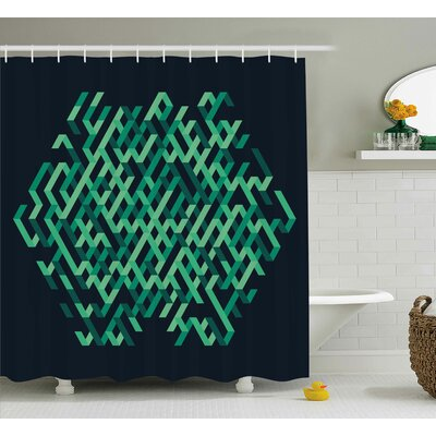 Susan Modern Geometric Ombra Colored Lines Maze Like Circle Round Seem Decorative Image Shower Curtain Size: 69 W x 70 H