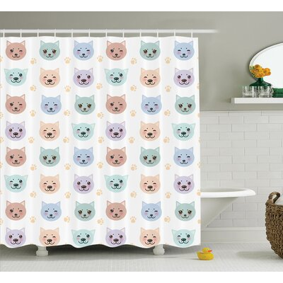 Ina Smiley Cat Muzzle and Paw Pattern on Cartoon Animal Themed Kitty Nursery Room Decor Shower Curtain Size: 69 W x 75 H