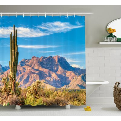Augustaville Landscape of Mountain Sun Desert Cactus Botanic Bushes Sky With Clouds Image Shower Curtain Size: 69 W x 84 H