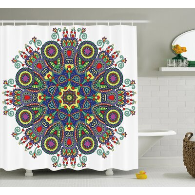 Gifford Chakra Embellished Mandala Circle With Indian Paisley Elements Cosmos Asian Zen Ritual Art Shower Curtain Size: 69 W x 70 H