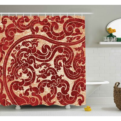 Bouziane Antique Thai Culture Vector Abstract Background Flower Pattern Wallpaper Design Print Shower Curtain Size: 69 W x 70 H
