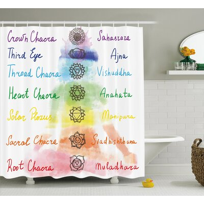 Anaheid Brushstroke Inspired Lotus Pose Chakra Spots Shower Curtain Size: 69 W x 70 H