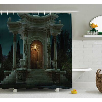 Gothic House Roman Pavilion Lantern Ivy on Pillars Under Dome Medieval Mystic Theme Shower Curtain Size: 69 W x 75 H