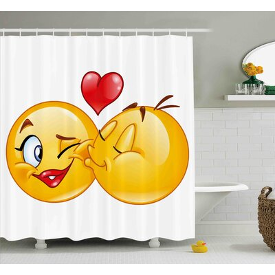 Alice Emoji Romantic Flirty Loving Smiley Faces Couple Kissing Eachother Hearts Image Art Print Shower Curtain Size: 69 W x 75 H