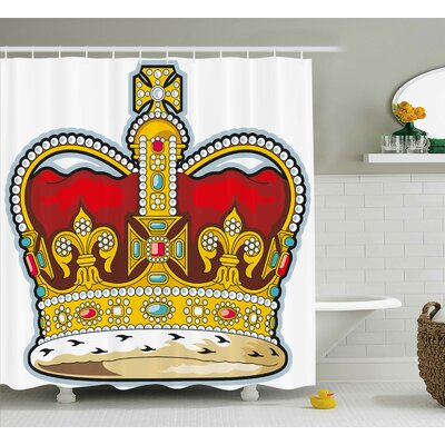 Effie Heraldry Medieval British Crown With Middle Age Embellish Stones and Forms Art Print Shower Curtain Size: 69 W x 70 H
