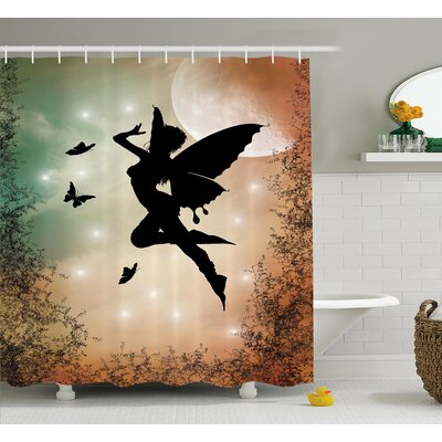 Jimmie Black Fairy With Angel Wings Butterflies and Sun Like Alluring Round Light Shower Curtain Size: 69 W x 70 H