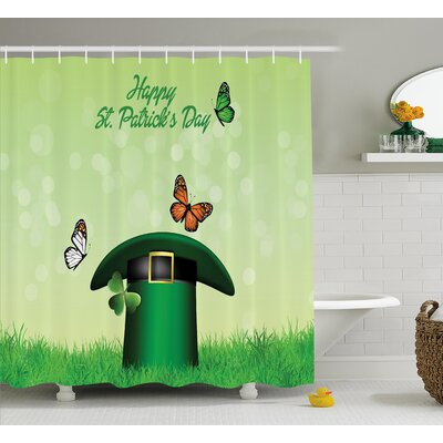 St. PatrickS Day Happy Religious Day Leprechaun Hat on Grass With Butterflies Shower Curtain Size: 69 W x 70 H