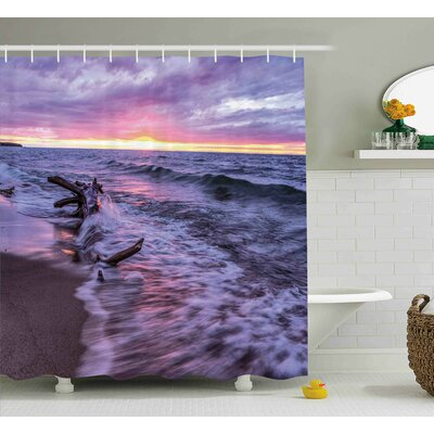 Luisa Driftwood Beach Landscape Wavy Sea and Cloudy Sky At Sunset Digital Image Shower Curtain Size: 69 W x 70 H