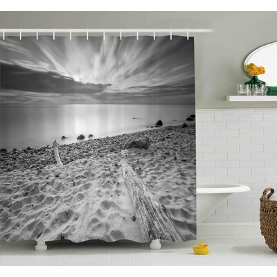 Vicki Nature Theme Landscape of The Rocky Sea Shore With Driftwood Clouds Shower Curtain Size: 69 W x 70 H