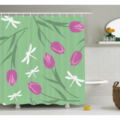 Debi Tulips and Dragonflies Flower Silhouettes Old English Pastel Pattern Graphic Shower Curtain Size: 69 W x 75 H
