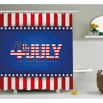 4th of July Grunge Silhouette of Statue of Liberty Famous Landmark Retro Print Shower Curtain Size: 69 W x 75 H