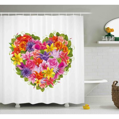 Valentines Day Heart Frame With Shabby Elegance Flowers Roses Leaves Romantic Theme Image Shower Curtain Size: 69 W x 70 H