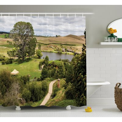 Hobbits Overhill Matamata New Zealand Movie Set Hobbit Land Village Movie Set Image Shower Curtain Size: 69 W x 70 H