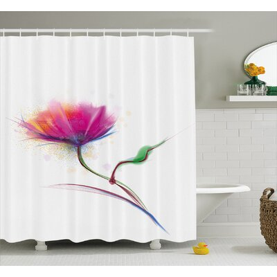 Acevedo Simplistic Poppy Design Purity and Grace Symbol Splattered Image Shower Curtain Size: 69 W x 70 H
