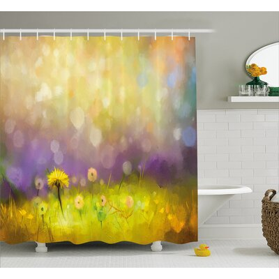 Wilma Pastel Floral Lawn and Hazy Shallow Depth of Field Design Shower Curtain Size: 69 W x 75 H