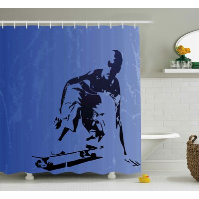 Kayle Teenager Abstract Vector Illustration of a Young Skaterboy Illustration Art Shower Curtain Size: 69 W x 70 H