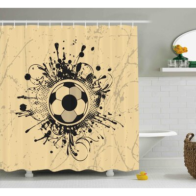 Herbert Sports Football Abstract Modern Decoration With Digital Splash Like Details Art Print Shower Curtain Size: 69 W x 75 H