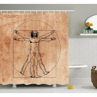 Human Anatomy Medieval Vitruvian Man Crosshatching Famous Italian Painting Renaissance Body Art Shower Curtain Size: 69 W x 70 H