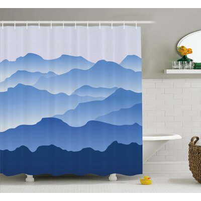 Beachworth Nature Theme a Panoramic Silhouette of The Mountains Shower Curtain Size: 69 W x 70 H