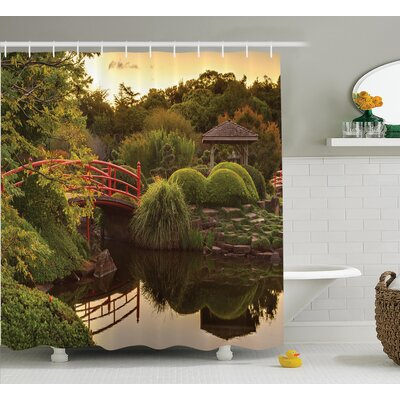 Ouinane Japanese Peaceful Garden Shower Curtain Size: 69 W x 70 H